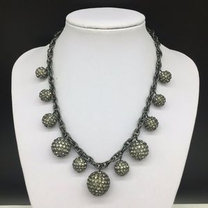Talbots Bauble Dangling Rhinestone Gray Necklace